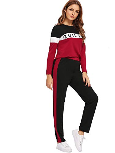1d37122eee64f Shocknshop Red and Black Letter Print Colorblock Tape Tee & Leggings Pants  Tracksuit Set for Womens (LEG69)