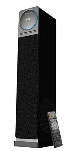 Sykik tower TSME26, high power 60W RMS Tower Speaker with Bluetooth, powerful 6.5 inch sub-woofer, Pair of 4 inch drivers, SD, USB AUX Jacks. FM radio and remote. (Best Tower Speakers For Music)