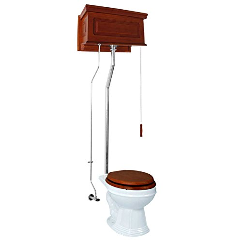 Mahogany High Tank Pull Chain Toilet With White Round Bowl And Chrome Pipe