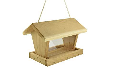 Wooden Cedar Hanging Hopper Bird Feeder Handmade ()