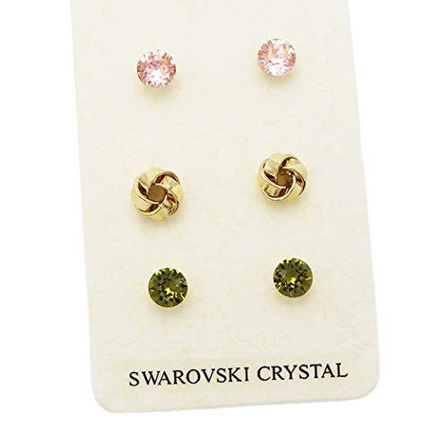 Rosemarie Collections Women's 3 Pairs Pretty 7mm Stud Earrings Made with Swarovski Crystals (Love Knot) -