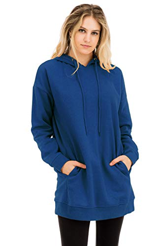 - Casual Loose Fit Long Sleeves Over-Sized Hoodie Sweatshirts Sapphire 2X