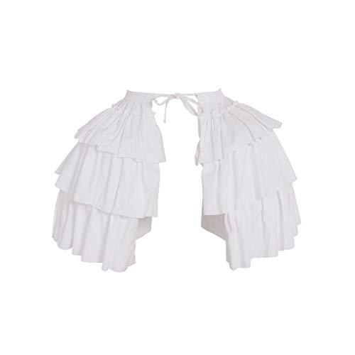 (DUNHAO COS Women's White Crinoline Pannier Underskirt Victorian Dress (Ruffle Double Pannier))