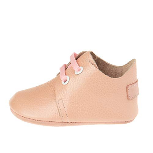 Ella Bonna Mini Oxford Shoes | Cowhide, Full Grain Leather Sole | Flexible | Handmade Designer Moccasins | for Baby Boys Girls Toddlers (US 2 M, Pink)