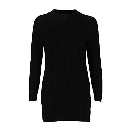 Einheitsgröße Tricot Femmes Noir Sweatshirt Loose Pullover Taille Tricot à couleur Manches Tricots Décontracté Tops Sexy Longues Zhrui Chemisier Mode Split EH6w4q