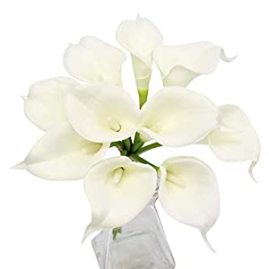 Angel Isabella, LLC 20pc Set of Keepsake Artificial Real Touch Calla Lily with Small Bloom Perfect for Making Bouquet, Boutonniere,Corsage (Ivory) 14