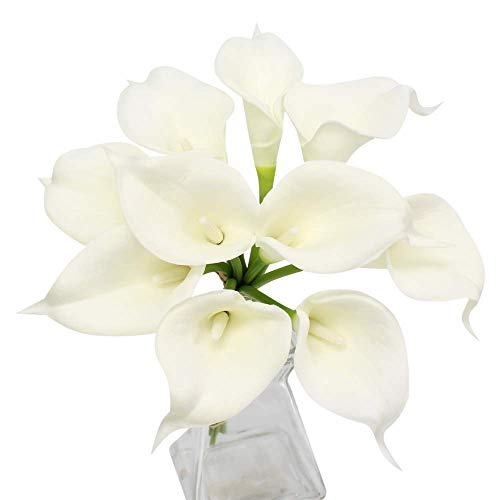 Lily Keepsake - Angel Isabella, LLC 20pc Set of Keepsake Artificial Real Touch Calla Lily with Small Bloom Perfect for Making Bouquet, Boutonniere,Corsage (Ivory)