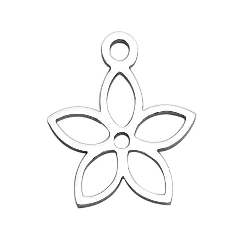 Pandahall 20pcs 304 Stainless Steel 5-Petal Flower Necklace Charms Hypoallergenic Steel Pendants for DIY Jewelry Making