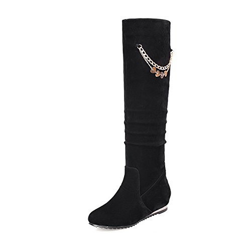 heels Heighten and PU AmoonyFashion 5 Toe Boots Zipper Inside Solid PU Low Black M Womens Round B US Closed with Frost Xwwq67S