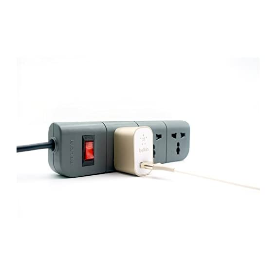 Tidy Up! Wire Bin with Spike Buster/Power Strip/Surge Protector (Black)