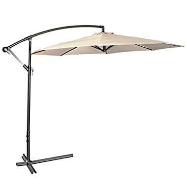 AMT 10 Feet PA Coating Waterproof Cantilever Hanging Patio Umbrella, Beige