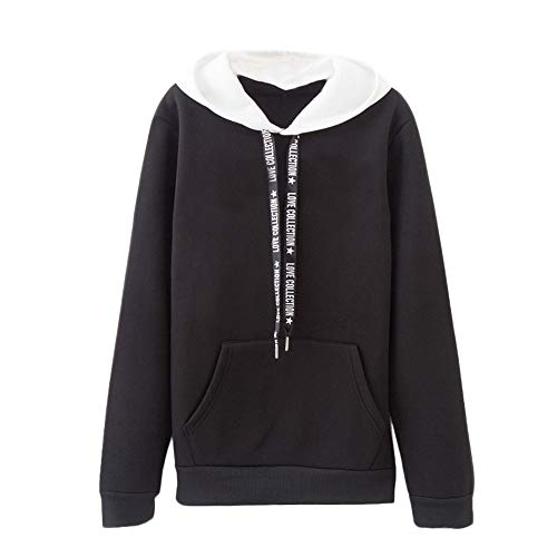 Ite Pullover Hoodie - NRUTUP Women Adult Hooded Sweatshirt Long Sleeve Casual Active Pullover Novelty Top Blouse(Black,XL)