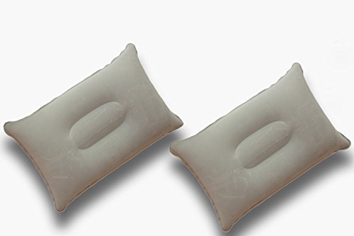 Happy Sherpa Super-Comfy 2 pack small inflatable travel pillow Lumbar Support flocked velvet-touch (Gray)