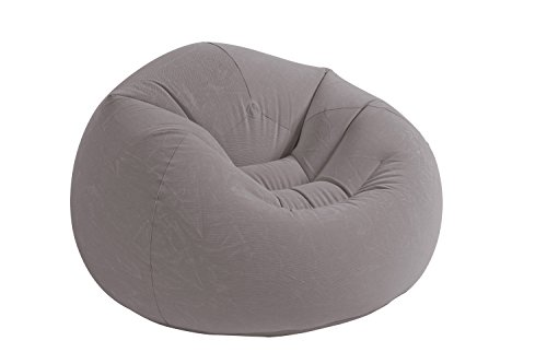 Intex Inflatable Contoured Corduroy Beanless Bag Lounge Chair, Grey