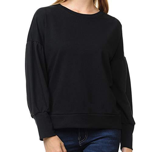 - Re.Born RBWT107_70597 Womens Casual Sweatshirt with Balloon Sleeve Black S