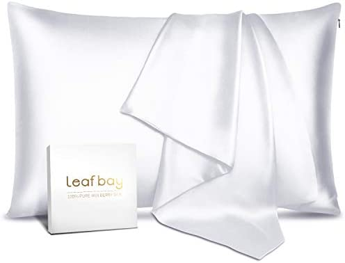 Leafbay 100% Pure Mulberry Silk Pillowcase for Hair & Skin – Allergen Proof Dual Sides 600 Thread Count Silk Bed Pillow Cases with Hidden Zipper, 1 Pack Queen Size