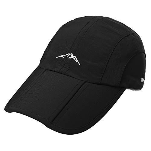 Foldable Foldable Bill Water Repellent Rain Hat Cap Men Running Sports Quick Drying Sun SPF Black