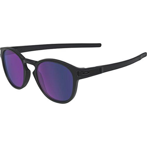 Oakley Men's OO9265 Latch Oval Sunglasses, Matte Black/Violet Iridium Lens, 53 mm