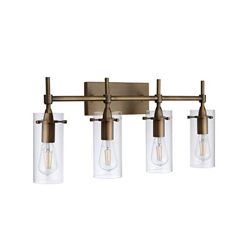 Effimero 4 Light Bathroom Vanity Light | Antique Brass Hallway Wall Sconce- LL-WL34-3AB