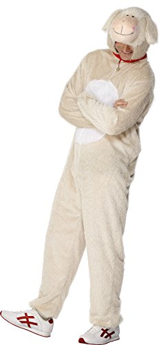 [Smiffy's Adult Unisex Lamb Costume, Jumpsuit with Hood, Party Animals, Serious Fun, Size L, 31676] (Lamb Costumes For Adults)