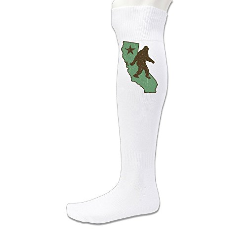 Healthb Men's California Flag Bear Bigfoot Vintage Look Football Sport Socks White