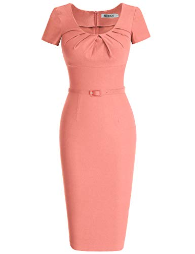 MUXXN Womens Rockabilly 1950s Scoop Collar Knee Length Bridesmaid Dress (Peach M) (50 Retro Clothes)