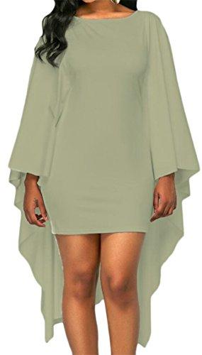 Bat Womens Skinny Sleeve Green Dress Irregular Jaycargogo Sexy 4CfIxwq66