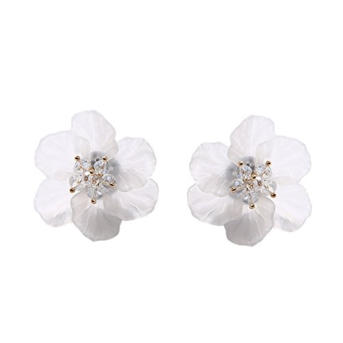 Plum Flower Stud Earrings Crystal Bead Petal Earring Jewelry Alloy Vintage Geometric Pendant Earring for Women Girl Summer Vacation (white) ()