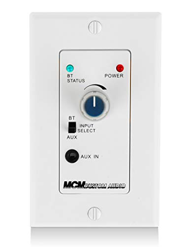 in Wall Stereo Amplifier with Bluetooth Wireless Music Receiver in-Wall Audio Control Receiver with Built-in Amplifier Volume Control, 3.5mm Headphone Jack AUX Input Module for Sound Systems by Mcm Custom-Audio