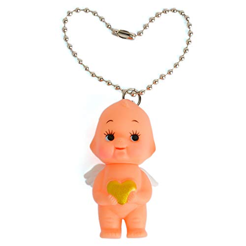Obitsu Kewpie Vintage Rubber Baby Doll Angel Wings Heart Pendant Keychain Handbag Charm 2 inch (Gold)