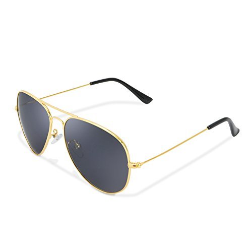 Classic Aviator Polarized Sunglasses Metal Frame with Protective Box (Gray Lens Gold - Sunglasses Lens Gray