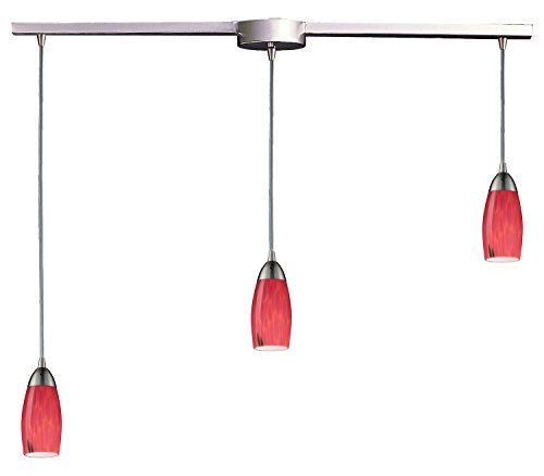 Milan 3 Light Pendant in Satin Nickel and Fire Red - Milan Fire Art Red