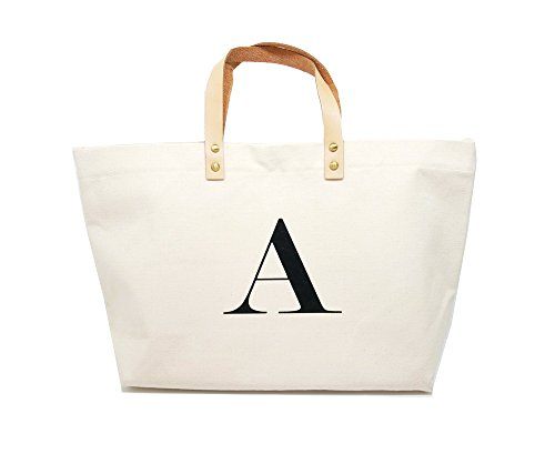 PumPumpz Canvas Tote Bag, Natural Color and Classic A Monogrammed Bag. - Which arrive you within 5 days (Monogrammed Canvas Tote)