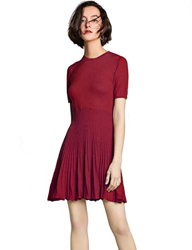 FINCATI Sweater Dress Women Spring Autumn Cashmere 2019 Slim Fitted Pleated Mini Sexy Flattering Dresses (S-Wine, S)