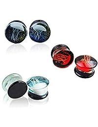Earring Glass (12MM) 6 PCS Glass Ocean Jellyfish Ear Plugs Gauges Tunnel Expanders Stretcher Unique Earrings Double Flared Piercings Body Jewelry Blue Red Set