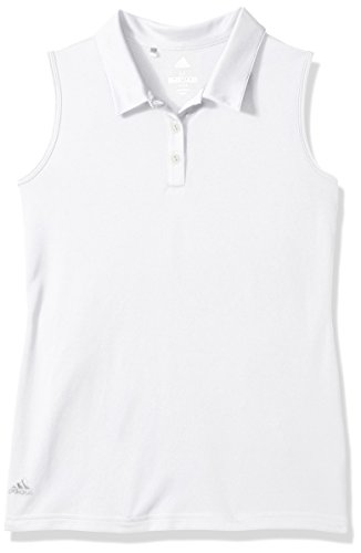 (adidas Golf Tournament Sleeveless Polo, White, Large)