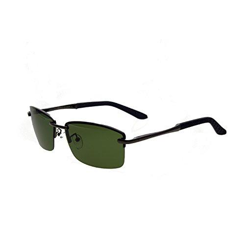 Zacway Polarized Spring Hinges Metal Predator Sunglasses UV400 60mm (Gunmetal Frame/Grey Green Lens, 60)