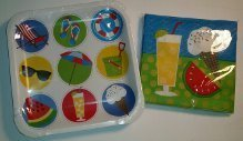 Summertime Party  Time Paper Plates  & Luncheon Napkins