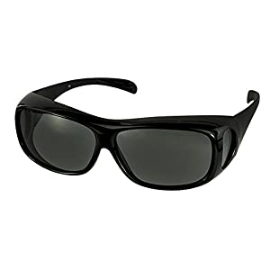 LensCovers Wear Over Sunglasses for Men and Women. Size Large Slim Black Polarized!