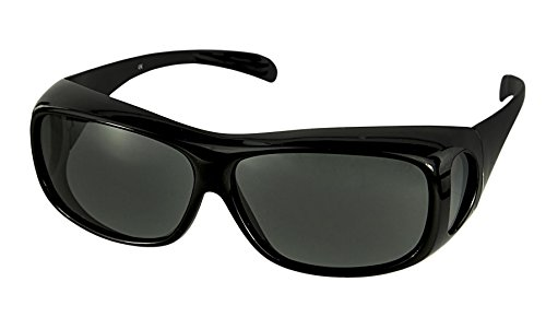 LensCovers Wear Over Sunglasses for Men and Women. Size Large Slim Black - Sun Glasses Over Shades