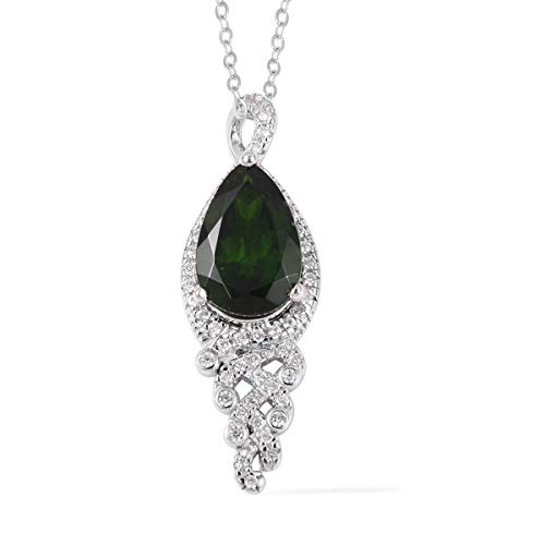 - 925 Sterling Silver Chrome Diopside White Zircon Pendant Necklace for Women 18