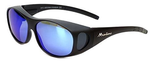 Montana Fitover Sunglasses F01H in Matte Black & Polarized Blue Mirror Lens 62mm