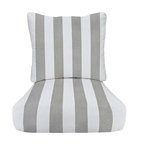 - RSH Décor Indoor/Outdoor Stripe Cushion Sets for Patio Deep Seating for Chair/Sofa/Couch in Grey/Gray & White - Choice of Size (24