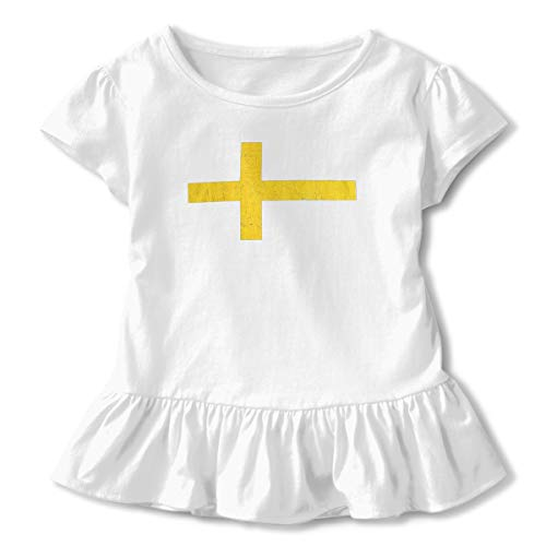 Lookjufjiii80 Toddler Girls' Flag of Sweden Short Sleeve Dress Ruffle T Shirts Tops Tee Clothes White -