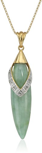 18k Yellow Gold Over Sterling Silver Green Jade and Diamond Accent Drop Pendant Necklace, 18