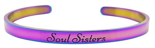 Soul Sisters Inspirational Mantra Cuff Bracelet Best Friends, BFF Besties, Friendship Unique Jewelry Gifts Birthday Christmas (Rainbow)