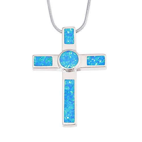 - Blue Fire Opal Silver Cross Women Jewelry Gemstone Pendant and Necklace OD7034