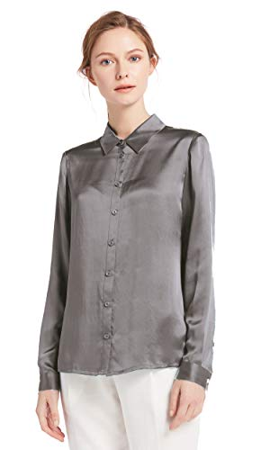 LilySilk Silk Button Down Shirts for Women Long Sleeve 22 Momme Charmeuse Silk (Grey, Small)