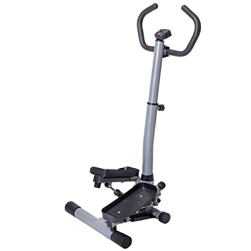 Gymax Step Machine, 2 in 1 Twister Stepper Stair Climber with LCD Display and Handle Bar, for Fitness Cardio Exercise Workout