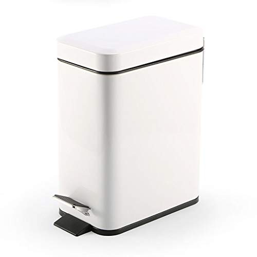 XLanY Smart Bin, 5L Stainless Steel Step Pedal Trash Can, Dust Bin Garbage Can Waste Basket Fingerprint Proof with Lid Kitchen,White